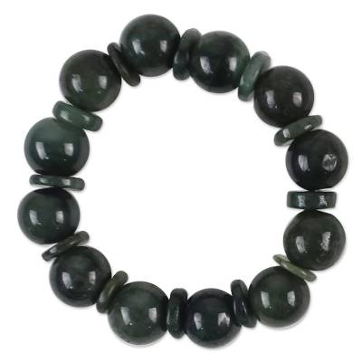 Jade beaded stretch bracelet, 'Simply Green' - Green Jade Beaded Stretch Bracelet from Thailand