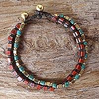 Jasper beaded bracelet, 'Magic Love'