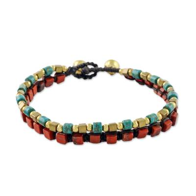 Jasper beaded bracelet, 'Magic Love' - Jasper and Brass Bead Bracelet Handmade Thailand
