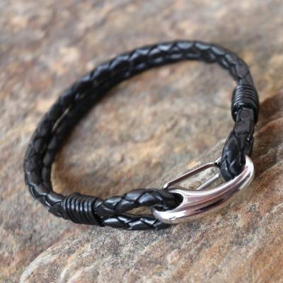 Leather wristband bracelet, 'Braided Couple in Black' - Handcrafted Black Leather Braided Bracelet from Thailand