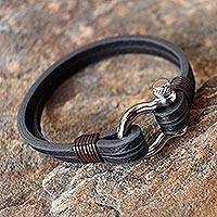 Leather wristband bracelet, 'Sleek Movement in Brown' - Handcrafted Brown Leather Wristband Bracelet from Thailand