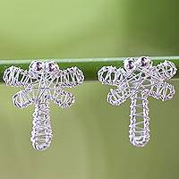 Sterling silver drop earrings, 'Dragonfly Wrap' - Artisan Crafted Sterling Silver Dragonfly Drop Earrings