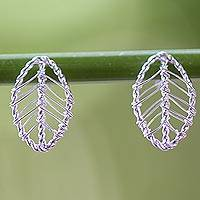 Sterling silver drop earrings, 'Lucky Leaf Wrap' - Artisan Crafted Sterling Silver Leaf Shaped Button Earrings