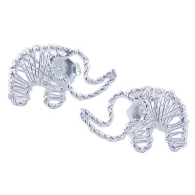 Artisan Crafted Sterling Silver Elephant Button Earrings