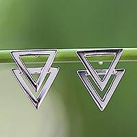 Sterling silver drop earrings, 'Enchanting Geometry' - Shiny 925 Sterling Silver Double Triangle Earrings