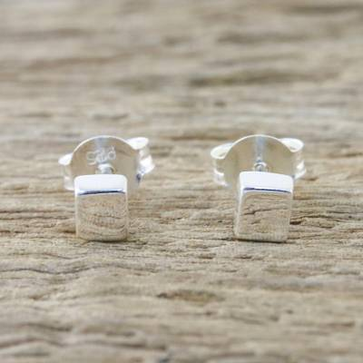 Sterling silver stud earrings, 'Silver Cubes' - Handcrafted Sterling Silver Stud Earrings from Thailand