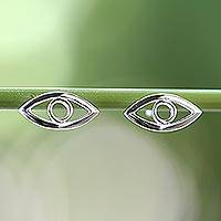Sterling silver button earrings, 'Magic Eye' - Handcrafted Sterling Silver Button Earrings from Thailand