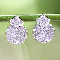 Sterling silver drop earrings, 'Modern View' - Circle and Rhombus Brushed Satin Sterling Silver Earrings