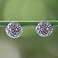 Sterling silver huggie hoop earrings, 'Fun Life' - 925 Silver Huggie Hoop Earrings Artisan Crafted in Thailand