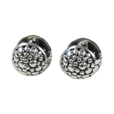 925 Silver Huggie Hoop Earrings Artisan Crafted in Thailand