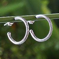 Sterling silver half-hoop earrings, 'Touch of Silver' - Handcrafted Sterling Silver Half Hoop Earrings from Thailand
