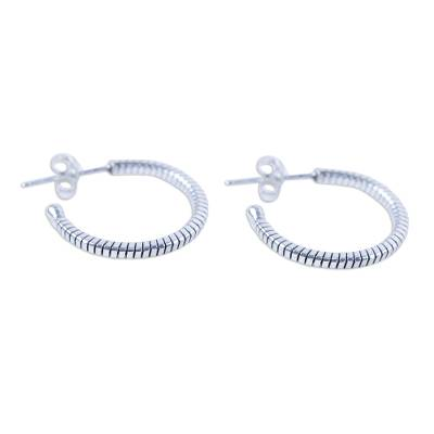 Handcrafted Sterling Silver Half Hoop Earrings from Thailand