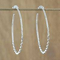Sterling silver half-hoop earrings, 'Wavy Chic' - Handcrafted Sterling Silver Half-Hoop Earrings from Thailand