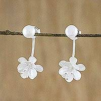 Cultured pearl drop earrings, 'Night Blossoms' - Handcrafted Cultured Pearl and Sterling Silver Drop Earrings