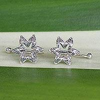 Sterling silver ear cuffs, 'Floral Summer' - Handcrafted Sterling Silver Flower Ear Cuffs from Thailand