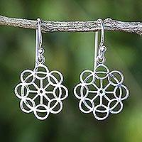 Sterling silver dangle earrings, 'Magic Flowers' - Handcrafted Sterling Silver Dangle Earrings from Thailand