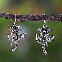 Sterling silver drop earrings, 'Summer Blooming' - Sterling Silver Blooming Flower Earrings from Thailand