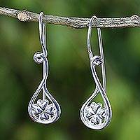 Sterling silver drop earrings, 'Dewdrop Love Blossom' - 925 Silver Floral Drop Earrings Artisan Crafted in Thailand