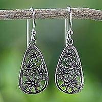 Sterling silver flower dangle earrings, 'Floral Showers' - Artisan Crafted Antiqued Sterling Silver Flower Earrings