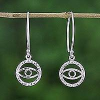 Sterling silver dangle earrings, 'Mesmerizing Eyes' - Artisan Crafted Mystical Eyes 925 Sterling Silver Earrings