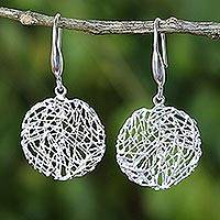 Sterling silver dangle earrings, 'Happy Nests' - Modern Sterling Silver Thai Artisan Crafted Hook Earrings