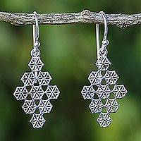 Sterling silver dangle earrings, 'Honeycomb Flowers' - Honeycomb Flower Earrings Hand Crafted in Sterling Silver