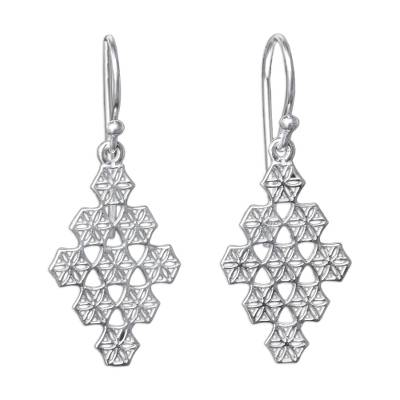 Honeycomb Flower Earrings Hand Crafted in Sterling Silver