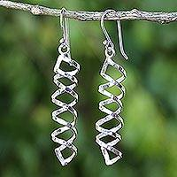 Sterling silver dangle earrings, 'Cheerful Serpentines' - Shiny 925 Silver Spiral Earrings Artisan Crafted in Thailand