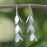 Sterling silver waterfall earrings, 'Leaves for All Seasons' - Sterling Silver Waterfall Leaf Earrings Handmade in Thailand
