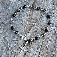 Onyx and smoky quartz link bracelet, 'Night Cross' - Onyx and Smoky Quartz Cross Bracelet from Thailand