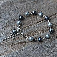Cultured pearl link bracelet, 'Cross Shimmer' - Cultured Pearl and 950 Silver Cross Bracelet from Thailand
