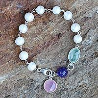 Cultured pearl and chalcedony link bracelet, 'Pastel Beauty' - Cultured Pearl and Chalcedony Link Bracelet from Thailand