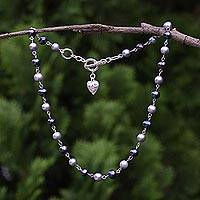 Cultured pearl link necklace, 'Swirling Hearts' - Cultured Pearl and 950 Silver Link Necklace from Thailand