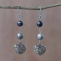 Cultured pearl dangle earrings, 'Swirling Hearts' - Thai Cultured Pearl and Sterling Silver Heart Earrings