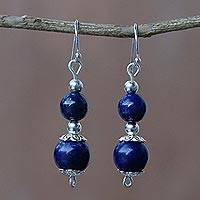 Lapis lazuli dangle earrings, 'Blue Grandeur' - Lapis Lazuli Artisan Crafted Earrings with Sterling Silver