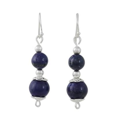 Lapis Lazuli Artisan Crafted Earrings with Sterling Silver