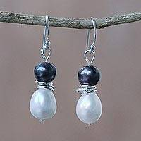 Cultured pearl dangle earrings, 'Luxurious Glam' - Artisan Crafted Black and White Cultured Pearl Hook Earrings