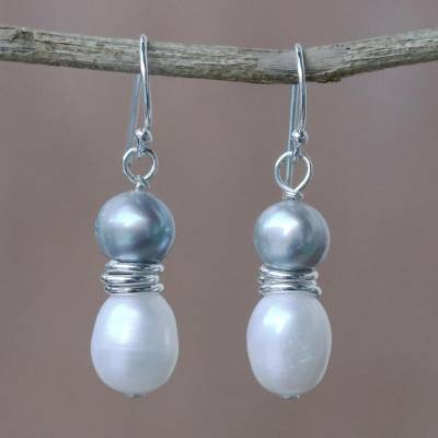 Cultured pearl dangle earrings, 'Luxurious Grey Glam' - Artisan Crafted Grey and White Cultured Pearl Hook Earrings