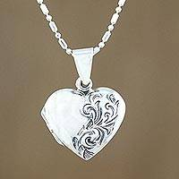 Sterling silver locket necklace, 'Enduring Love' - Handcrafted Sterling Silver Heart Locket Necklace