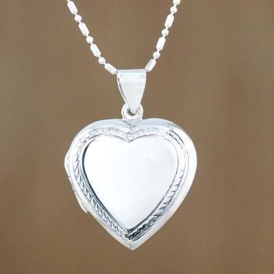 Sterling silver locket necklace, Enduring Romance