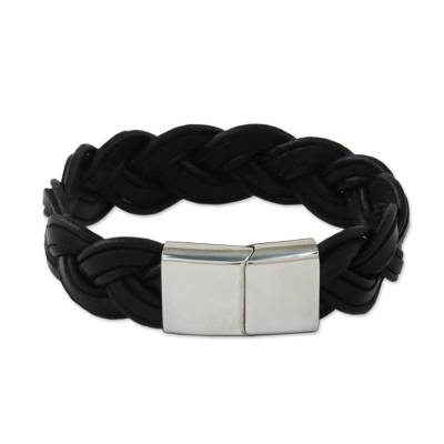 Handcrafted Black Leather Wristband Bracelet from Thailand