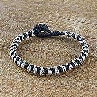 Silver beaded wristband bracelet, 'Karen Fashion in Black' - Karen Silver Beaded Wristband Bracelet from Thailand