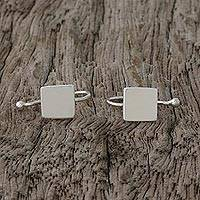 Sterling silver ear cuffs, 'Square Shimmer' - Sterling Silver Square-Shaped Ear Cuffs from Thailand