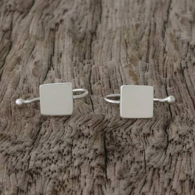 Sterling silver ear cuffs, Square Shimmer