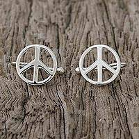 Sterling silver ear cuffs, 'Shimmering Peace' - Sterling Silver Peace Sign Ear Cuffs from Thailand