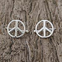 Sterling silver ear cuffs, 'Shimmering Peace' - Sterling Silver Peace Sign Ear Cuffs from Thailand