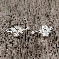 Sterling silver ear cuffs, 'Shining Luck' - Sterling Silver Clover-Shaped Ear Cuffs from Thailand