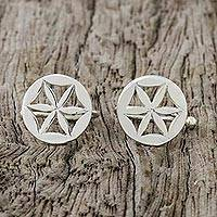 Sterling silver ear cuffs, 'Star Petals' - Sterling Silver Star-Shaped Circular Ear Cuffs from Thailand