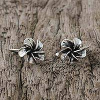 Sterling silver ear cuffs, 'Frangipani Spiral' - Sterling Silver Frangipani Ear Cuffs from Thailand