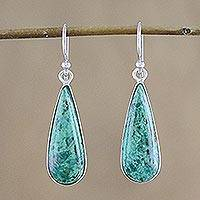 Chrysocolla dangle earrings, 'Peaceful Rain' - Rhodium Plated Chrysocolla Dangle Earrings from Thailand